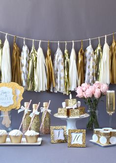 Sparkle on your wedding day with a fun gold glitter wedding! Shop the collection of gold glitter favors, decorations and supplies.