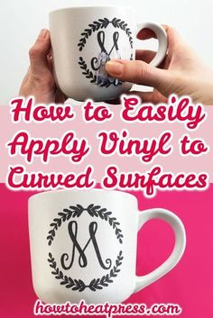 How To Easily Apply Vinyl To Curved Surfaces - Vinyl On Mugs Tips for applying vinyl to a curved surface! We're putting vinyl on mugs for this DIY Cricut monogram project - come & take a look! Vinyle Cricut, Cricut Heat Transfer Vinyl, Cricut Iron On Vinyl, Vinyl Art, Vinyl Decals, Silhouette Cameo, Silhouette Projects, Silhouette Portrait, Silhouette Machine