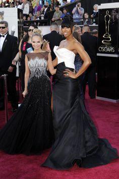 Kristin Chenoweth's Dress: Tony Ward. Kelly Rowland's Dress: Donna Karan Atelier.  #Oscars 2013