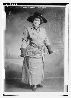 """Jane Hungerford Milbank organized an """"Army of Columbians,"""" named after the female symbol of America, Columbia, to """"train women, to broaden them, to teach them to take orders and obey commands and work as a team."""" (NYTimes, 19 May 1915) She believed that women would need to protect themselves and their country if the Germans came to the US in WWI, and also that women's suffrage demanded women's military readiness."""