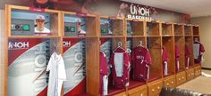 UNOH baseball locker room signs and graphic enhancements. Baseball locker inserts signs and locker header signs. See more of UNOH's athletic facility projects: http://gamedayvision.com/gameday-projects/unoh/
