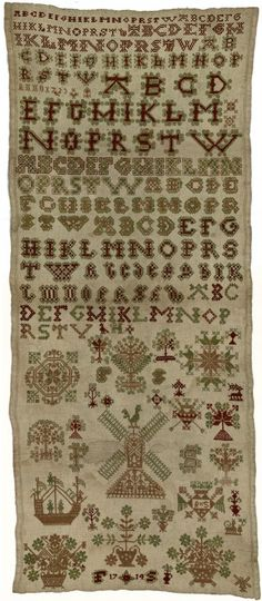 "1714 to 1723 Dutch embroidery sampler by ""F.S."" in Friesland, Netherlands.  In 1714, somewhere in the southwest corner of Friesland, a girl began to embroider this sampler. She continued the work until 1723, completing the alphabet 10 times. Very often a sampler remains unfinished because girls got other occupations or because they had practiced enough."