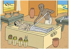 Holy Crap, how cool is the mummification process!! I loved explaining this to my World History students and this picture even shows the 4 Canopic Jars for holding the mummy's organs! Geeking out over this one!