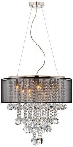 Black Shade Brushed Nickel Crystal Chandelier - Euro Style Lighting