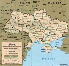 Large size Ukraine map showing cities and regions via mytripolog.com