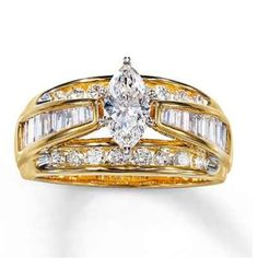 1.5 CT diamond ring Solid 14k white gold diamond ring from Kay's that has a marquise diamond center with an array of round & baguette diamonds to add that extra sparkle! No paperwork. TCW is approximately 1.5cts. Priced to sell. Jewelry Rings