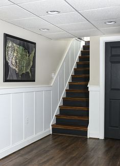 A small ranch-style basement decorated in a mix of vintage, industrial and modern styles. #basementdecor #vintagemodern #vintagedecor #vintage Basement Renovations, Basement Ideas, Basement Movie Room, Vintage Industrial, Vintage Modern, Stairway Decorating, Modern Basement, Vintage Laundry, Built In Shelves