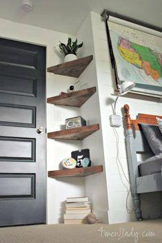 13 ideas for simple living room shelves DIY projects, ., 13 ideas for simple living room shelves DIY projects, Floating Corner Shelves, Corner Shelving, Glass Shelves, Floating Wall, Diy Corner Shelf, Corner Storage, Small Corner Decor, Hanging Shelves, Corner Bookshelves