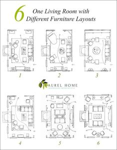 One living room - six different room layouts - furniture layouts