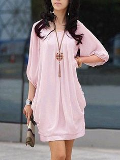 Half Sleeve Solid Crew Neck Plus Size Dress - Half Sleeve Solid Crew Neck Plus Size Dress – linenlooks casual dresses outfit,linen dresses,lin - Casual Dresses For Summer, Casual Dress Outfits, Dresses For Work, Shift Dresses, Girl Outfits, Plus Size Kleidung, Frack, Mode Hijab, Curvy Women Fashion