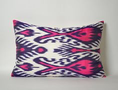 Neon Pink Navy Blue White Silk Ikat Pillow Cover Pink by pillowme