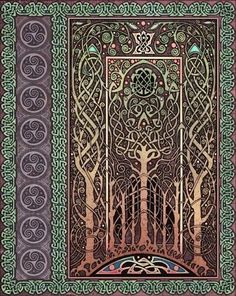 Forest tapestry with Celtic knotwork.