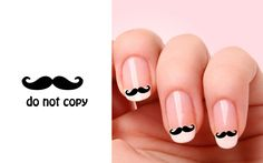 Set of 20 Mustache nail art decals.. $1.98, via Etsy.