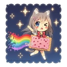Chibi Nyan Cat by DAV-19 on deviantART   Anime   Pinterest ❤ liked on Polyvore featuring anime and drawings