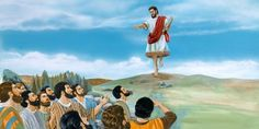The disciples look on as Jesus ascends to heaven | My Book of Bible Stories | Tags: Jehovah's Witnesses, The Watchtower Bible and Tract Society