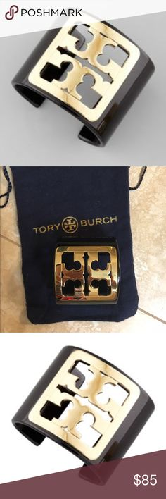 Tory Burch black enamel framed gold logo cuff Used a handful times, sold out everywhere, actual pic 2, includes jewelry pouch. Great condition. Authentic Tory Burch Tory Burch Jewelry