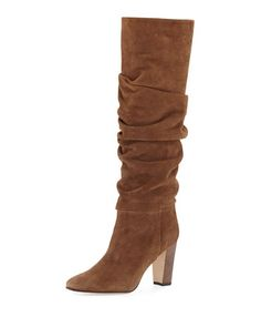 Brunchilee Suede Scrunched Knee Boot, Brown by Manolo Blahnik at Neiman Marcus.