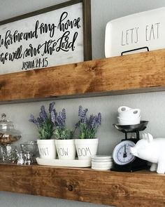 ☀️ Today I'm sharing these floating shelves my husband and I built last week. I hadn't shared it because I wanted to wait… Dining Room Floating Shelves, Rustic Floating Shelves, Floating Wall, Dining Room Table Chairs, Dining Room Walls, Room Chairs, Stools For Kitchen Island, Kitchen Shelves, Toddler Table And Chairs