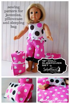 American Girl doll Sleepover Set sewing pattern by Schoolhouse Patterns. Make PJs, Sleeping Bag, Pillow and Pillowcase for you AG doll.