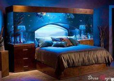 Crazy aquarium over bed