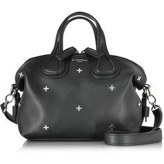 Givenchy Handbags Nightingale Micro Black Leather Satchel Bag w/Metal... (110,460 PHP) ❤ liked on Polyvore featuring bags, handbags, black, satchel purses, leather satchel purse, handbags purses, leather man bags and studded handbags