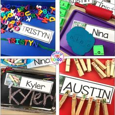 How to use name cards in the preschool, pre-k, and kindergarten classroom to help students learn their name plus FREE name cards Prek Literacy, Education And Literacy, Preschool Writing, Preschool Classroom, Kindergarten Names, Preschool Learning, Teaching Resources, Preschool Name Tags, Free Preschool