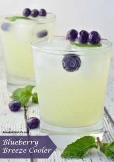 Quench your thirst with this adult lemonade cocktail. A deliciously refreshing adult libation, the Blueberry Breeze Cooler goes down smoothly. Party Drinks, Fun Drinks, Beverages, Craft Cocktails, Lemonade Cocktail, Cocktail Drinks, Vodka Lemonade Drinks, Cheers, Fourth Of July Drinks
