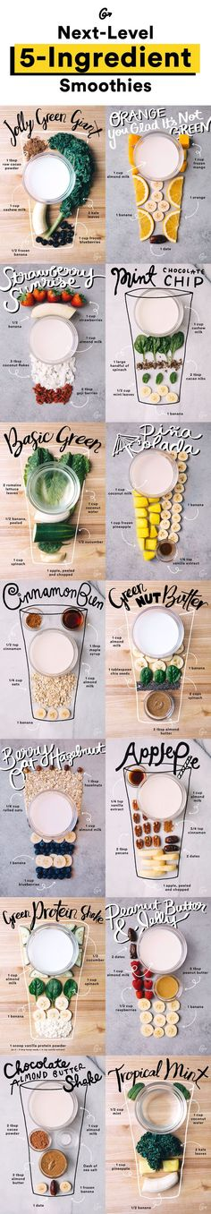 Van een Pina Colada s… Smoothie recipes with (less than) five ingredients each! From a Pina Colada smoothie to a Blueberry Pancake smoothie. All equally tasty and easy to make! Healthy Drinks, Healthy Snacks, Healthy Eating, Healthy Recipes, Locarb Recipes, Diet Recipes, Atkins Recipes, Bariatric Recipes, Quick Recipes