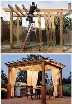 Pergola In Front Yard Code: 1845427120 Diy Pergola, Backyard Gazebo, Backyard Patio Designs, Outdoor Pergola, Pergola Designs, Backyard Projects, Backyard Landscaping, Pergola Kits, Daybed Outdoor