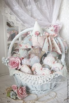 blue shabby chic basket with hearts