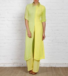 Yellow Georgette Kurti With Palazzos