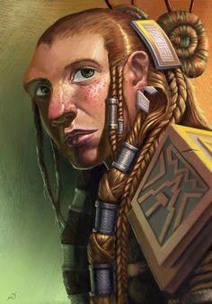 Love this protrait of a freckled female dwarf with braids. Female Dwarf by JoeSlucher on deviantART