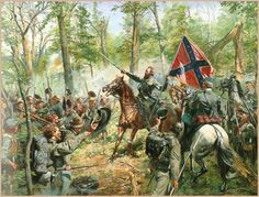 Stonewall Jackson depicted during the Battle of Cedar Mountain, August 1862 in Culpeper, Virginia.
