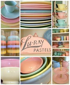 LuRay pastels dinnerware collage Bella Rosa Antiques