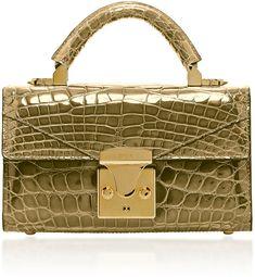 Gold Crocodile Mini Top Handle Bag by Stalvey Unique Purses, Cute Purses, Handbags On Sale, Purses And Handbags, Gold Handbags, Mini Handbags, Luxury Bags, Luxury Handbags, Womens Designer Bags
