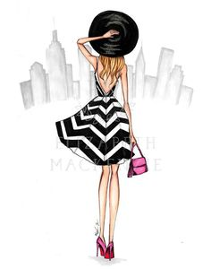 Girl in New York City Scene Illustration-Fashion Illustration Print-Girly wall art-Fashion wall decor-Fashion Sketch-Girly dorm decor-Purse Fashion Illustration Sketches, Illustration Girl, Fashion Sketches, Cartoon Owl Drawing, Dress Design Sketches, Small Canvas Art, Embroidery On Clothes, City Scene, Woman Drawing