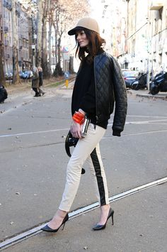 love the monochrome trousers...
