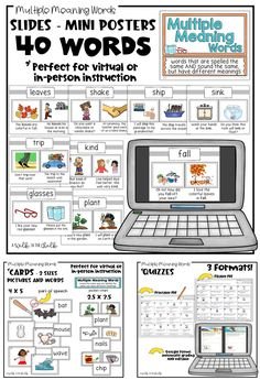 Multiple Meaning Words: Mini-Posters, Picture Cards, Activities and Quizzes- created for both distance learning and in-person settings. Explicit teaching of multiple meaning words, especially to English learners, is critical in both building vocabulary, and learning how to use context clues; an important skill across all content areas. #ESLclassroom #PrimaryGrades #EnglishLanguageLearners #UpperElementaryClassroom #ESLactivities