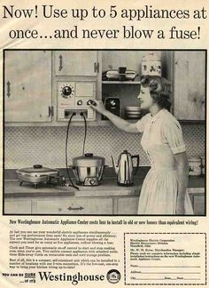 Oh, how I adore Appliance Centers -- like this 1957 Westinghouse model. With so many labor-saving devices, I guess the idea was to control the cords. There were often clocks and timers built in, and we see cords that retracted into the assembly. I have Sunbeam appliance center. VERY DESIRABLE and we do see these NOS about once a year.