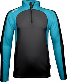 Leisure Top, 1/4 Zip, Barrow, 2 Colour Combination - Black & Aqua