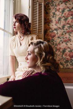 Elisabeth Ansley TWO VINTAGE WOMEN BESIDE WINDOW INDOORS Groups/Crowds