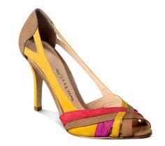 Sapato peep toe de couro multi colorido