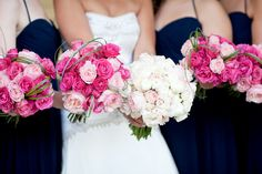 Pretty pink bouquets all in a row! Photography by http://www.lauraivanova.com / Floral Design by http://www.sayleslivingstonflowers.com