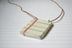 Little Notebook Page Ceramic Necklace