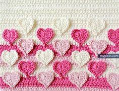 Delicadezas en crochet Gabriela: Tutorial corazones en relieve para manta