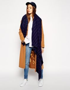 Buy ASOS Oversized Pinstripe Scarf at ASOS. With free delivery and return options (Ts&Cs apply), online shopping has never been so easy. Get the latest trends with ASOS now. Asos, Zaftig, Scarf Styles, Fashion Online, Duster Coat, Normcore, Jackets, Outfits, Shopping