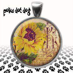 You Are My Sunshine  Sunflower Large Glass-Covered  pendant by Polkadotdog