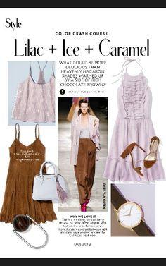 Instyle Magazine Color Crash Course - Lilac + Ice + Caramel pg2 Colour Combinations Fashion, Color Combinations For Clothes, Fashion Colours, Colorful Fashion, Color Combos, Colour Match, Pantone, Instyle Magazine, Color Pairing