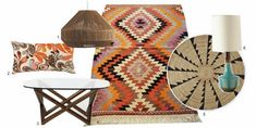 product_finds_modern_global_eclectic_interiors. 1. Laine jute pendant shade - Habitat (UK) // 2. Paisley Embroidered Pillow – Trina Turk // 3. Spindle Coffee Table - West Elm  // 4.  Vintage Turkish Kilim Rug - Sukan   //  5. MIAC Whirlwind Jute Rug - West Elm  // 6. Fern Fossil Lamp - Anthropologie