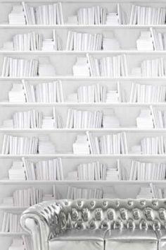 Bookshelf Wallpaper by Young  Battaglia - White 2.5m Panel